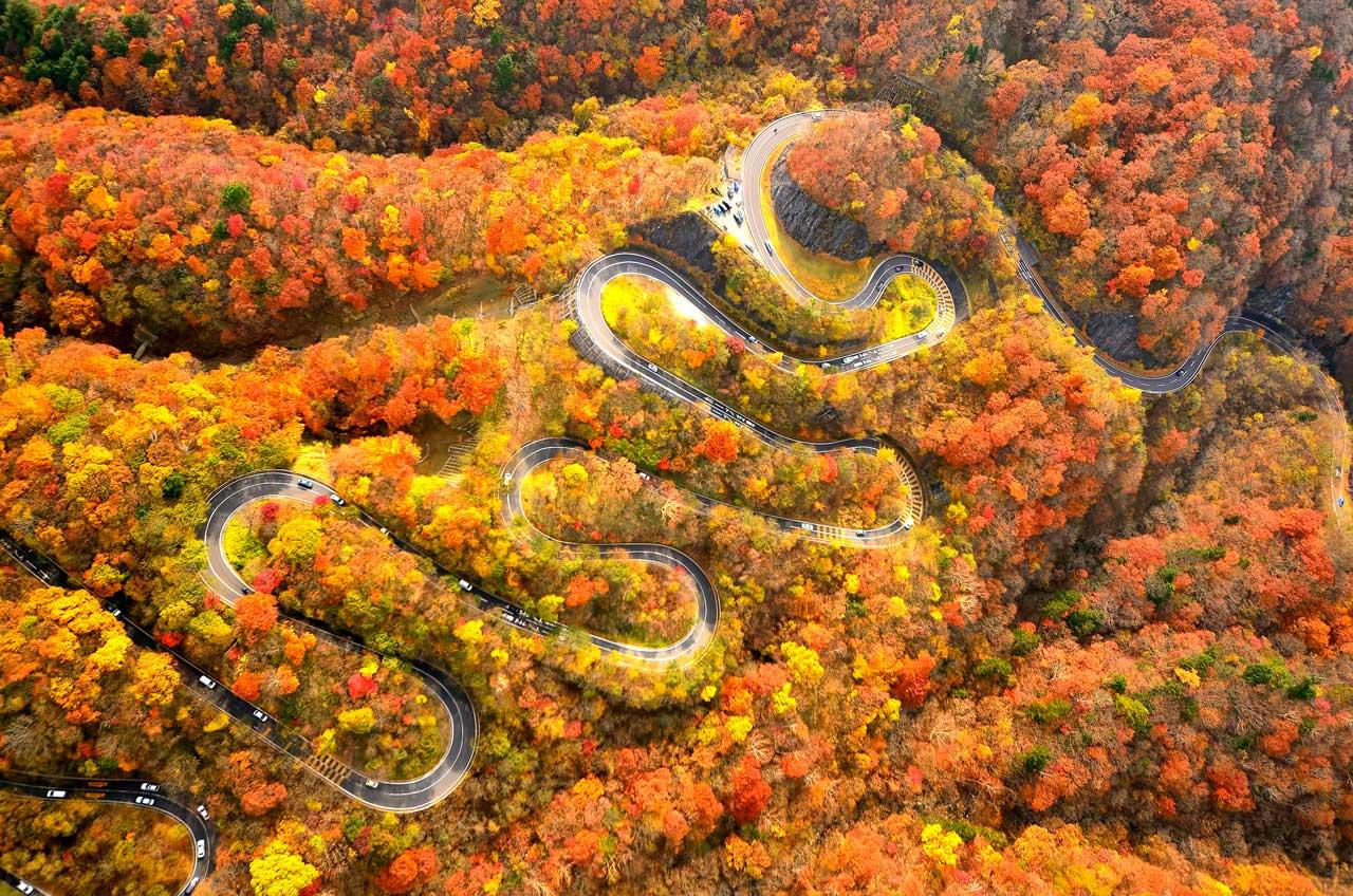 秋楓中的いろは坂